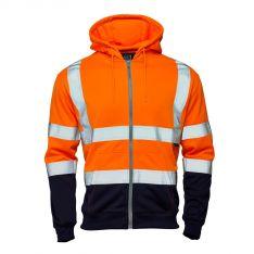 Supertouch Hi Vis Orange 2 Tone Hooded Zipped Sweatshirt