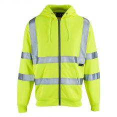 Supertouch Hi Vis Yellow Zipped Hooded Sweatshirt