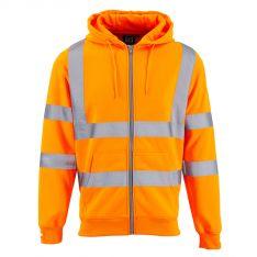 Supertouch Hi Vis Orange Zipped Hooded Sweatshirt