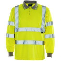 Supertouch Hi Vis Yellow Long Sleeve Bird Eye Polo Shirt