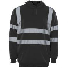 Supertouch Hi Vis Black Hooded Sweatshirt