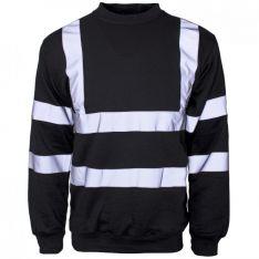 Supertouch Hi Vis Black Crew Neck Sweatshirt
