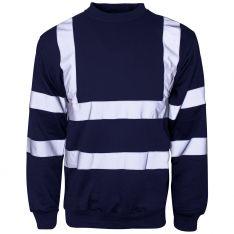 Supertouch Hi Vis Navy Crew Neck Sweatshirt