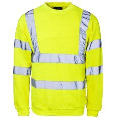 Supertouch Hi Vis Yellow Crew Neck Sweatshirt