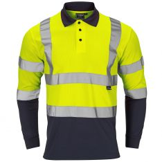 Supertouch Hi-Vis 2 Tone Yellow Long Sleeve Polo Shirt