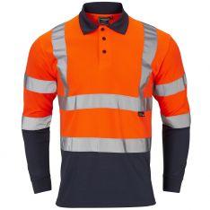Supertouch Hi-Vis 2 Tone Orange Long Sleeve Polo Shirt