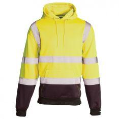 Supertouch Hi Vis Yellow 2 Tone Hooded Sweatshirt