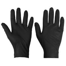 Supertouch Black Disposable Nitrile Diamond Grip Gloves