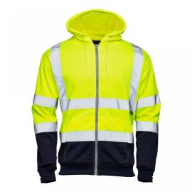 Supertouch Hi Vis Yellow 2 Tone Hooded Zipped Sweatshirt