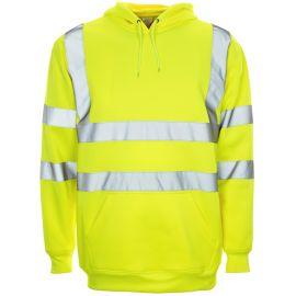 Supertouch Hi Vis Yellow Hooded Sweatshirt