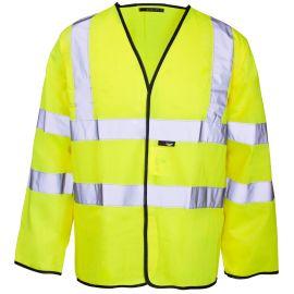Supertouch Hi Vis Yellow Long Sleeved Velcro Vest