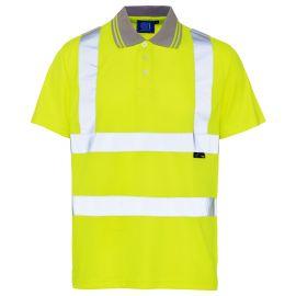 Supertouch Hi Vis Yellow Bird Eye Polo Shirt
