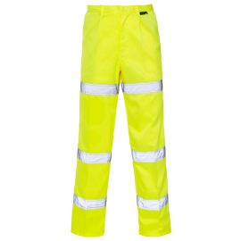 Supertouch Hi Vis Yellow 3 Band Polycotton Trousers